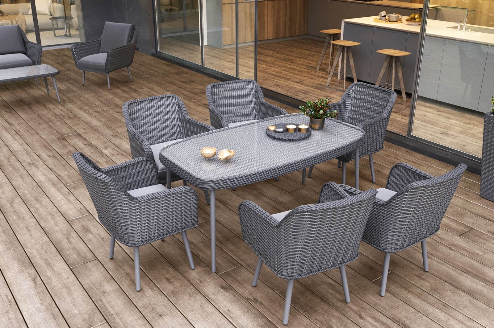 Krzesła technorattanowe na taras  niezastąpione w modnym ogrodzie