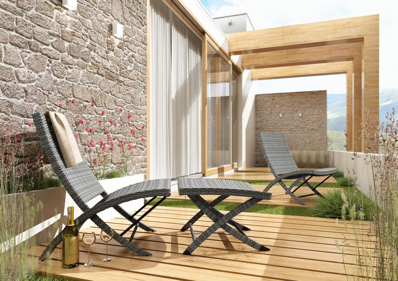 Fotel ogrodowy PORTO z podnóżkiem