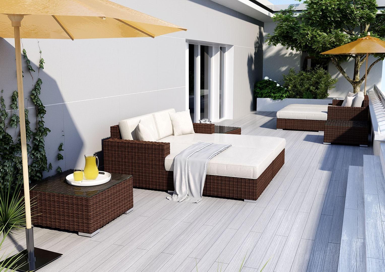 Na zdjęciu kanapa z technorattanu i zestaw mebli ogrodowych 11 MILANO