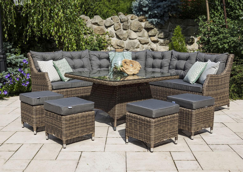nowoczesne meble ogrodowe z technorattanu Siena Royal Piasek